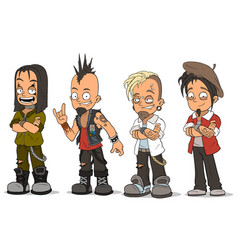 Cartoon punk rock metal guys characters set vector