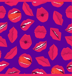 cartoon red lips seamless pattern background vector image