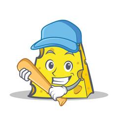 Cheese character cartoon style with baseball vector