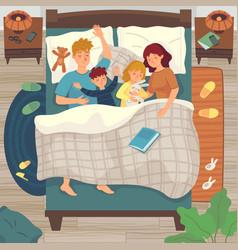 children sleep in parents bed co-sleeping with vector image
