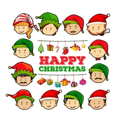 Christmas card with people wearing party hats vector image