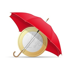 concept euro under umbrella vector image