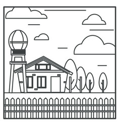 countryside farm house and water tower farming vector image
