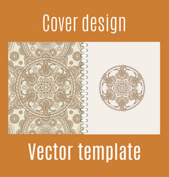 Cover design with round mandala pattern vector