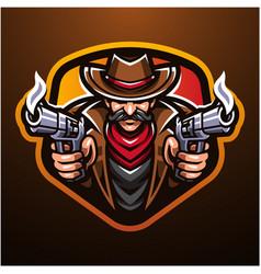 Cowboy esport mascot logo design vector