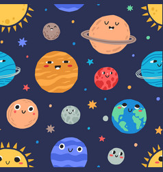cute childish planets and stars solar system vector image