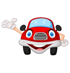 Cute red car cartoon character vector