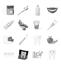 Dental care set icons in monochrome style Big vector
