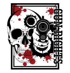 Design with firearms hand with gun human skull vector