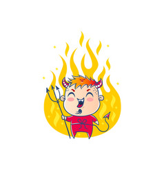 devil in fire in kawaii style vector image