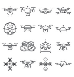 different outline drones set vector image