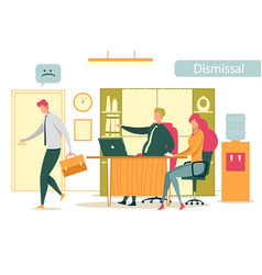 Dismissed frustrated employee leaving office vector
