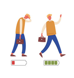 Energetic and exhausted workers vector