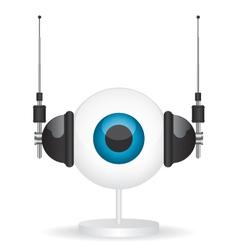 Eye camera and headphones vector image