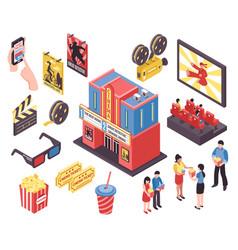 film theatre isometric elements vector image