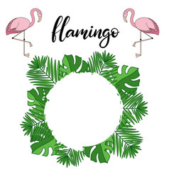 flamingo tropical leaves lettering vector image