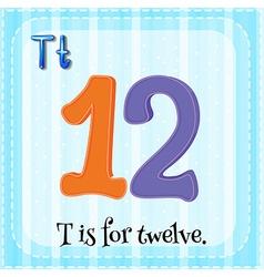 Flashcard of T is for twelve vector