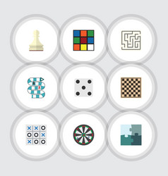 flat icon entertainment set of labyrinth vector image