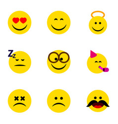 flat icon face set of smile love angel and other vector image