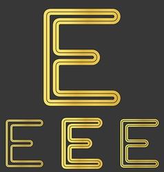 Golden line e logo design set vector