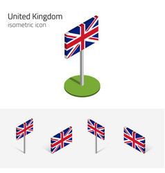 great britain flag set 3d isometric icons vector image