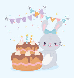 happy birthday cute rabbit cake with candles vector image