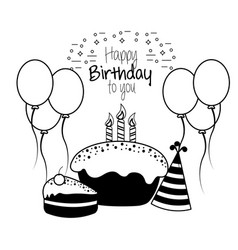 Happy birthday decoration with cake candles vector