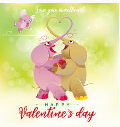 Happy valentines day elephants dance vector