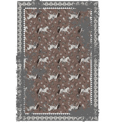 Horse and paisley grey brown carpet design vector
