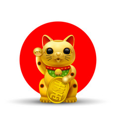 Japan lucky cat golg vector