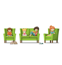 kids are reading books vector image