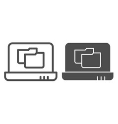 laptop folder line and glyph icon file folder on vector image