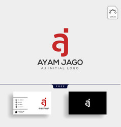 letter aj creative logo template with business vector image