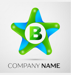 letter b logo symbol in the colorful star on grey vector image