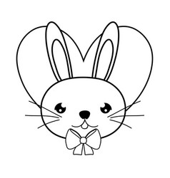 Line male rabbit head with tie bow and heart vector