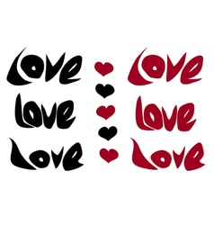 Love word and heart in black red over white vector