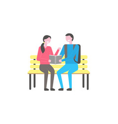 male and female students sit on bench with book vector image