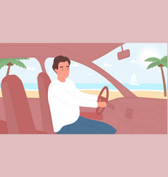 Man driving and travelling in car vector