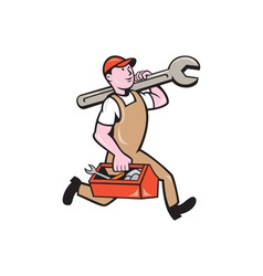 Mechanic Carrying Spanner Toolbox Running Isolated vector image
