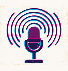 microphone on old paper background vector image