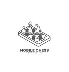mobile chess logo vector image