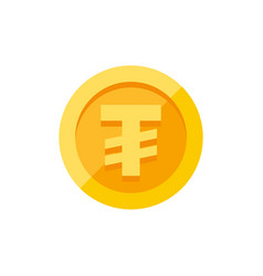 Mongolian tugrik currency symbol on gold coin flat vector