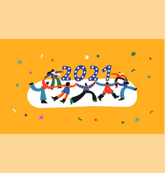 new year 2021 people dancing cartoon concept vector image