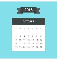 October 2016 Calendar vector image