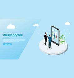 Online doctor app service for website template vector