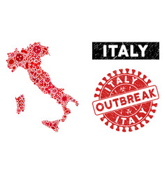 Pathogen collage italy map with distress outbreak vector