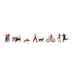 people having a walk flat isolated vector image