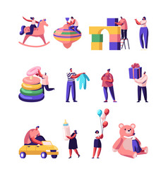 People with kids toys and stuff set tiny male vector