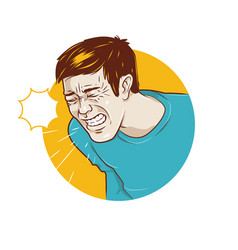 Person who sneezes or infected with flu symptoms vector