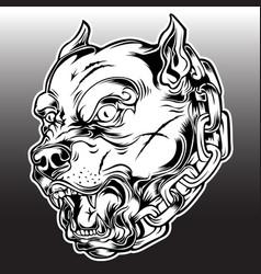Pitbull angry dog black vector